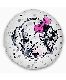 "Designart 'Funny Puppy With Pink Hair Band' Contemporary Animal Throw Pillow - 16"" Round"
