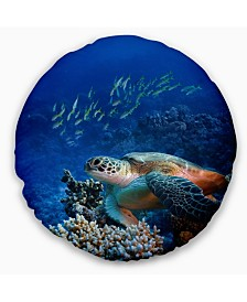 "Designart 'Large Sea Turtle Underwater' Abstract Throw Pillow - 20"" Round"
