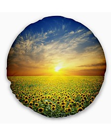 "Designart 'Beauty Sunset Over Sunflowers Field' Floral Throw Pillow - 20"" Round"