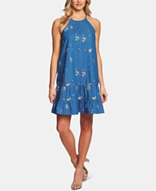 CeCe Embroidered Chambray Dress