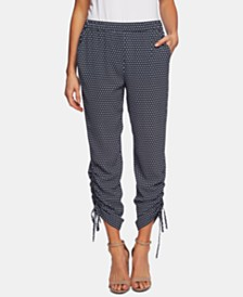 CeCe Printed Drawstring Tie-Hem Cropped Pants