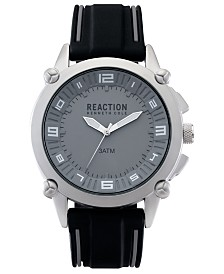 Kenneth Cole Reaction Analog Men's Black Silicone Strap Watch, 49MM