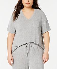 Alfani Plus Size Ribbed Knit Pajama Top, Created for Macy's