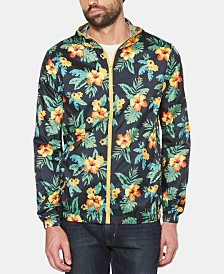 Original Penguin Men's Tropical Floral-Print Hooded Windbreaker
