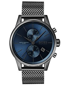 Men's Chronograph Jet Gray Stainless Steel Mesh Bracelet Watch 41mm