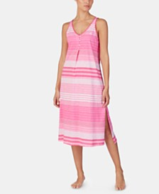 Lauren Ralph Lauren Stripe-Print Knit Cotton Nightgown