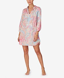 Printed 3/4-Sleeve Woven Nightgown