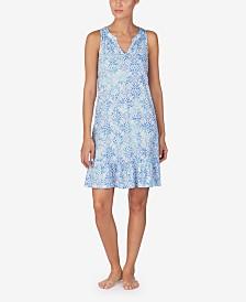 Lauren Ralph Lauren Printed Knit Ruffle Flounce Nightgown