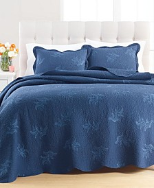 Martha Stewart Collection Stenciled Leaves Twin Quilt, Created for Macy's
