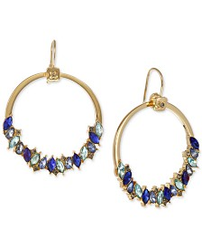 "Laundry by Shelli Segal Gold-Tone Blue Crystal Cluster Extra Large 2-1/4"" Hoop Earrings"