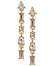 Laundry by Shelli Segal Gold-Tone Crystal Linear Earrings