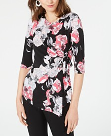 Alfani Petite Printed Side-Tie Top, Created for Macy's