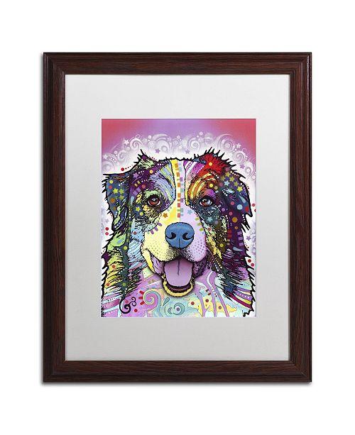 "Trademark Global Dean Russo 'Australian Shepherd' Matted Framed Art - 20"" x 16"" x 0.5"""