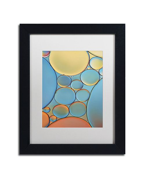 "Trademark Global Cora Niele 'Blue and Apricot Drops' Matted Framed Art - 11"" x 14"" x 0.5"""