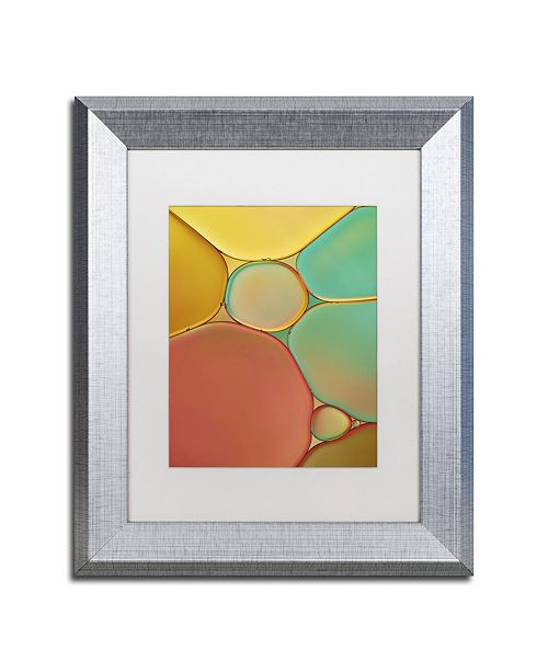 "Trademark Global Cora Niele 'Red Yellow and Green Drops' Matted Framed Art - 14"" x 11"" x 0.5"""