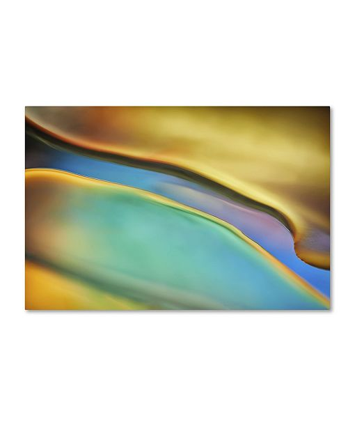 "Trademark Global Cora Niele 'Yellow and Aqua Blue Flow' Canvas Art - 32"" x 22"" x 2"""