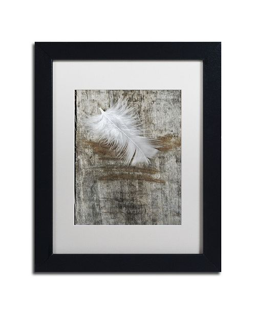"Trademark Global Cora Niele 'White Feather on Wood' Matted Framed Art - 11"" x 14"" x 0.5"""