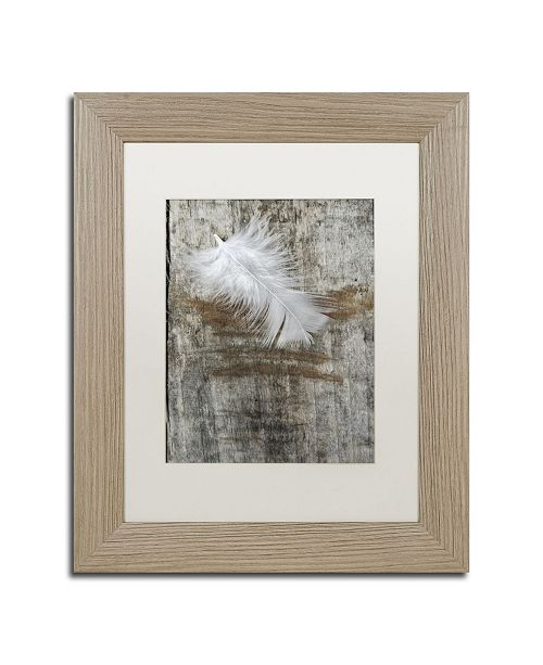 """Trademark Global Cora Niele 'White Feather on Wood' Matted Framed Art - 14"""" x 11"""" x 0.5"""""""