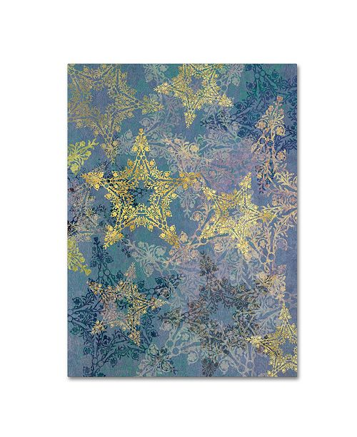 """Trademark Global Cora Niele 'Star Pattern Blue and Gold' Canvas Art - 47"""" x 35"""" x 2"""""""