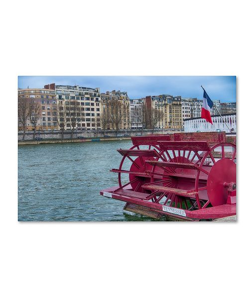 """Trademark Global Cora Niele 'Tennessee Boat On The Seine' Canvas Art - 24"""" x 16"""" x 2"""""""