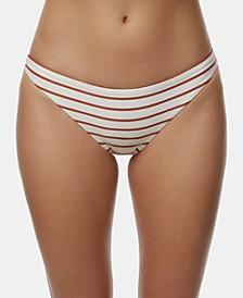 Juniors' Striped Cheeky Bikini Bottoms