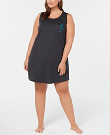 Jenni Plus Size Peekaboo-Back Sleepshirt, Created for Macy's
