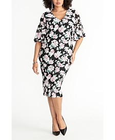 RACHEL Rachel Roy Plus Size Ruffle Sleeve Printed Lace Dress