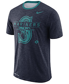 Nike Men's Seattle Mariners Dry Slub Stripe Logo T-Shirt
