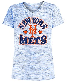 Big Girls New York Mets Spacedye T-Shirt