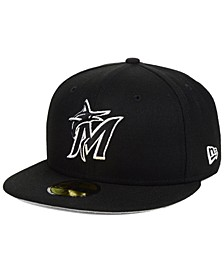 Miami Marlins  Black and White Fashion 59FIFTY Fitted Cap