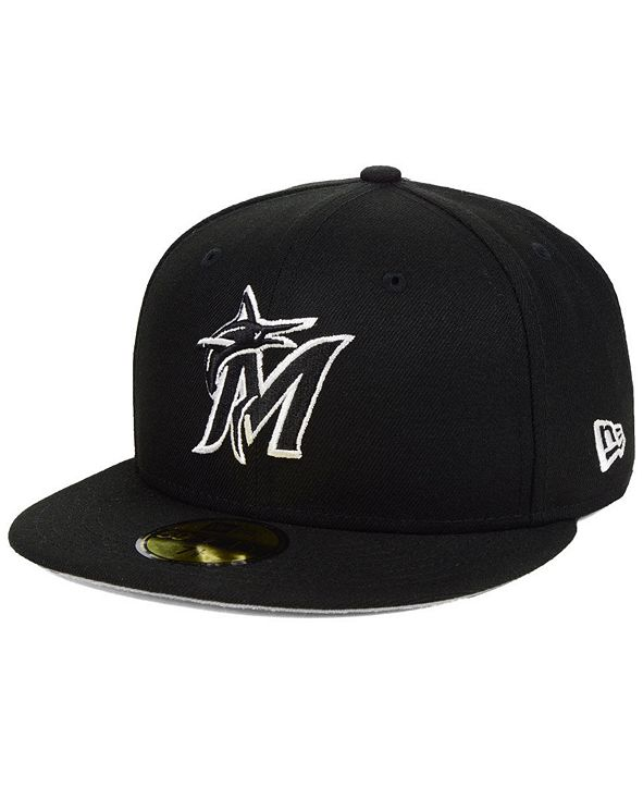 New Era Miami Marlins  Black and White Fashion 59FIFTY Fitted Cap