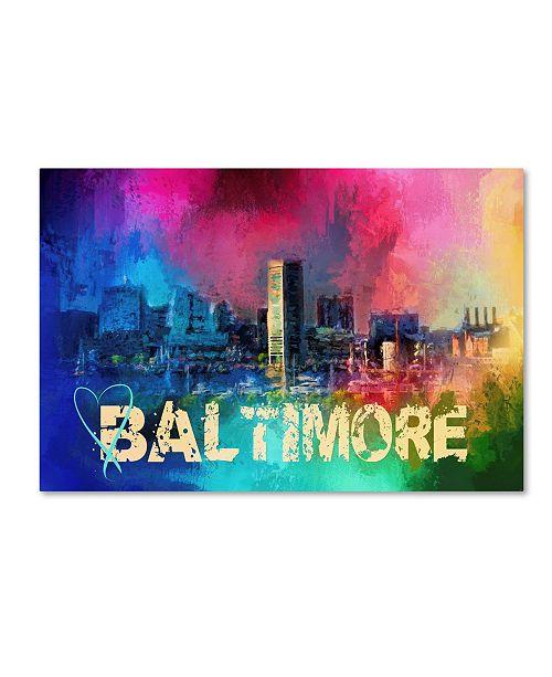 "Trademark Global Jai Johnson 'Sending Love To Baltimore' Canvas Art - 19"" x 12"" x 2"""
