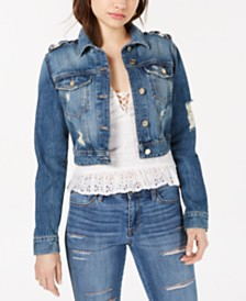 GUESS Cotton Ripped Cropped Denim Jacket