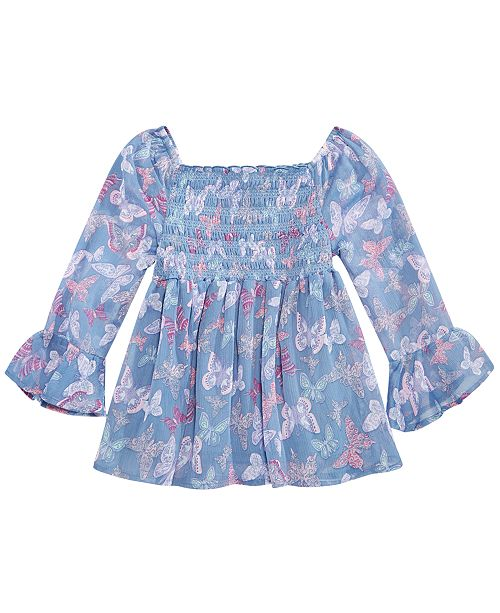 Epic Threads  Big Girls Smocked Butterfly-Print Top, Created for Macy's
