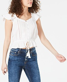 American Rag Juniors' Cotton Flutter-Sleeve Peplum Top, Created for Macy's