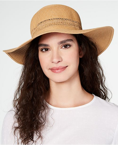 23be6de3f INC International Concepts I.N.C. Lace-Insert Floppy Hat, Created for ...