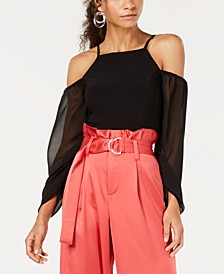 Mixed Media Cold-Shoulder Ruched-Sleeve Top, Created for Macy's