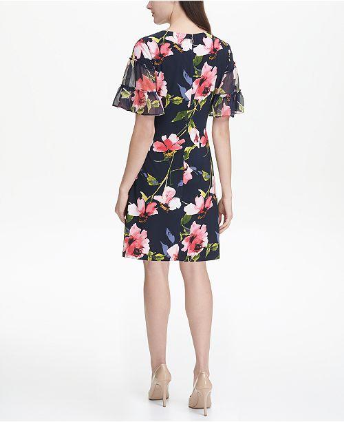 Macys Outlet Nj: Tommy Hilfiger Jersey Corsage Floral A-line Dress