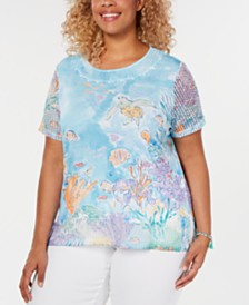 Alfred Dunner Plus Size Catalina Island Mesh-Trim Printed Top