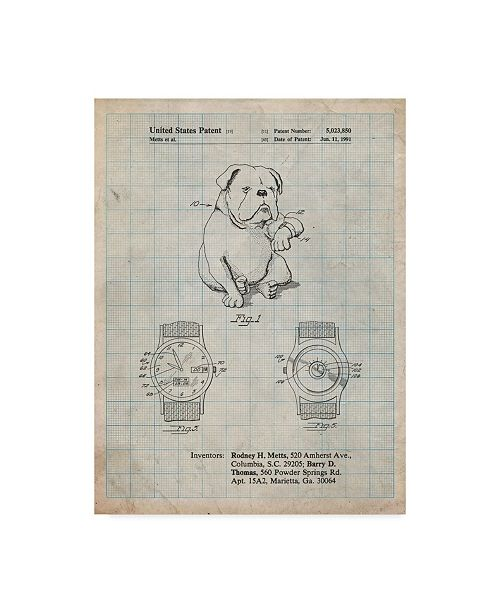 "Trademark Innovations Cole Borders 'Dog Watch Clock' Canvas Art - 24"" x 18"" x 2"""