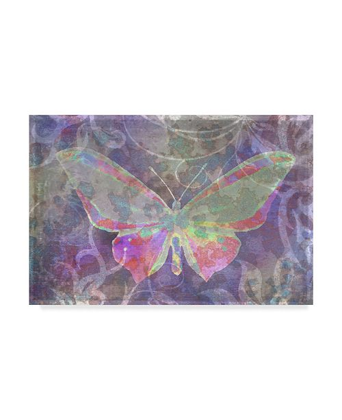 "Trademark Global Cora Niele 'Purple Pink Butterfly Watercolor' Canvas Art - 24"" x 16"" x 2"""