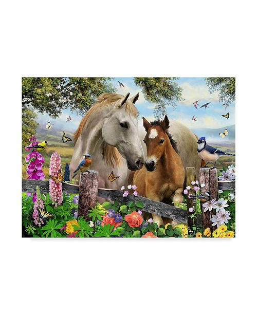 "Trademark Global Howard Robinson 'Garden Horses' Canvas Art - 19"" x 14"" x 2"""