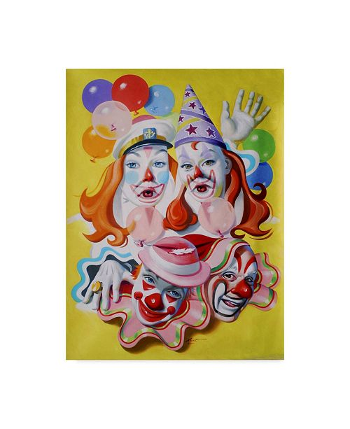 "Trademark Global D. Rusty Rust 'Clown Portrait' Canvas Art - 24"" x 18"" x 2"""