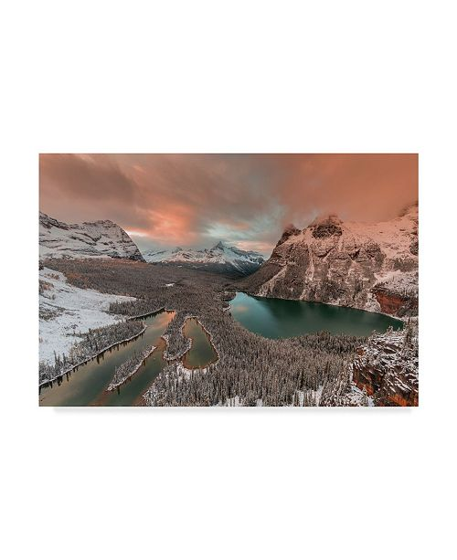 "Trademark Global David Hua 'Golden Light Over Opabin Lake' Canvas Art - 47"" x 30"" x 2"""