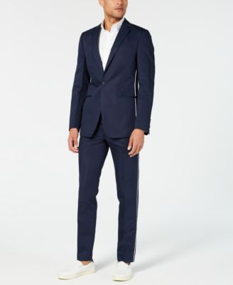 Men's Skinny-Fit Contrast Piped Suit Jacket