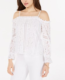 GUESS Cold-Shoulder Lace Top