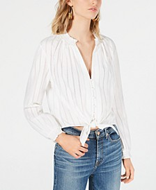 Eyelet Tie-Front Blouse