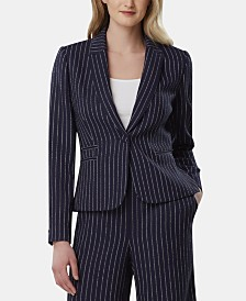 Tahari ASL Pinstriped One-Button Blazer