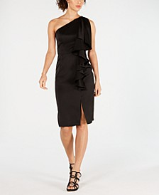 Ruffled One-Shoulder Sheath Dress