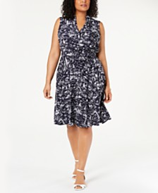 Charter Club Plus Size Scenic Belted Dress, Created for Macy's